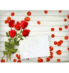 Red roses on wood background EPS 10 vector image