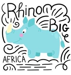 Rhino blue background isolated vector image
