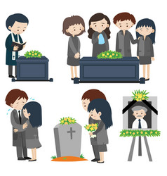 sad people at the funeral vector image