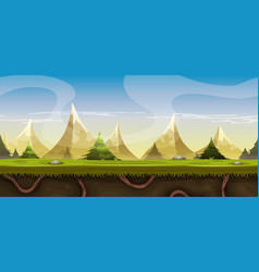 Seamless mountains landscape for game ui vector