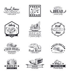 set bakery and bread logos labels vector image