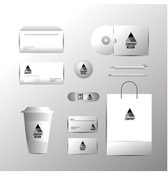 set business company stationary template with vector image