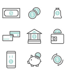 set money finance icons vector image