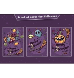 Set of cards Halloween doodles vector image