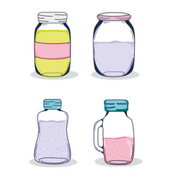set of mason jars vector image