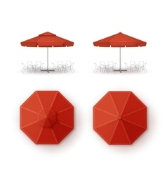 Set of Red Patio Outdoor Beach Cafe Umbrella vector