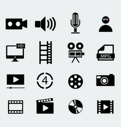 Set of sixteen cinema icons vector
