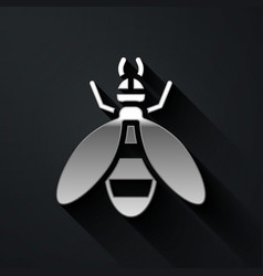 Silver bee icon isolated on black background vector