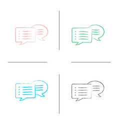 speech bubbles hand drawn icons set vector image