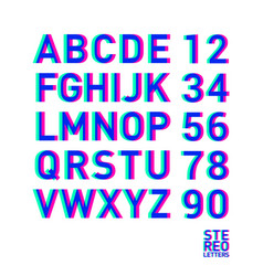 stereo alphabet stereoscopic letters and numbers vector image