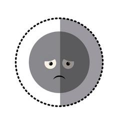 Sticker colorful emoticon sad face expression vector