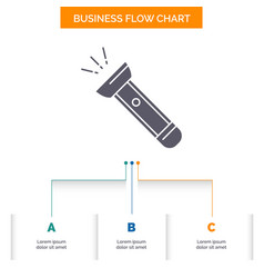 Torch light flash camping hiking business flow vector