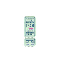 Transport services card isolated tram ticket pass vector