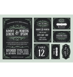 Vintage wedding invitation chalkboard design vector image