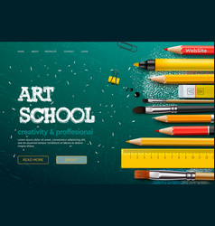 web page design template for art school studio vector image