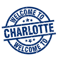 Welcome to charlotte blue stamp vector