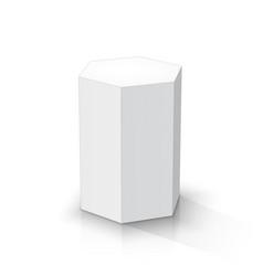 White hexagonal prism vector