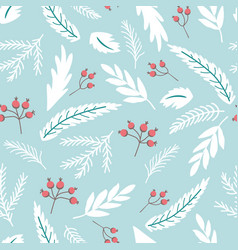winter branch seamless pattern forest berry fir vector image