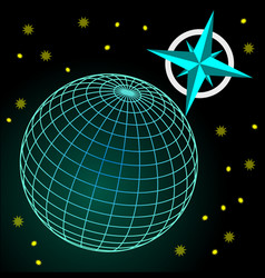 Wireframe blue and green globe on dark sky with vector