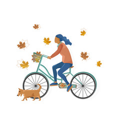 woman on bicycle flat style fall season vector image