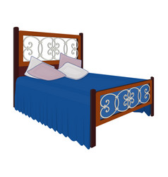 wooden bed for teenager with graffiti on the back vector image