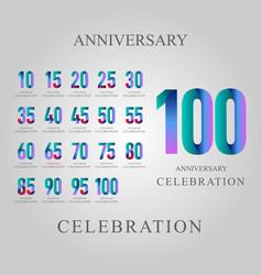 Year anniversary celebration set template design vector