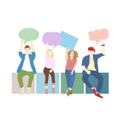 Young people holding speech bubble banner concept vector