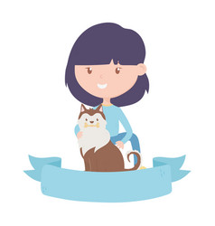 Young woman with dog adoption charity and donation vector