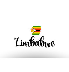 Zimbabwe country big text with flag inside map vector
