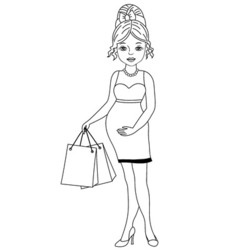 Black and White Pregnant Woman vector image
