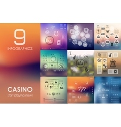 Casino infographic with unfocused background vector