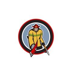 Fireman Carry Axe Hook Pike Pole Circle vector image