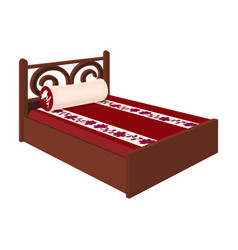 home bed with cushion in the shape of an ovalbed vector image