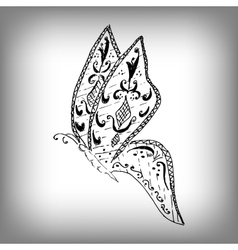 Magic butterfly style zentangle freehand drawing vector image