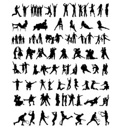 collection of people silhouettes vector image