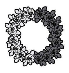 Gray scale silhouette crown flowered roses with vector