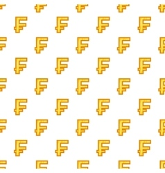 Swiss franc currency symbol pattern cartoon style vector image vector image