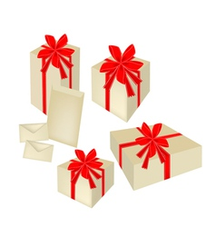 A Set of Gift Boxes with Red Ribbon and Cards vector image vector image