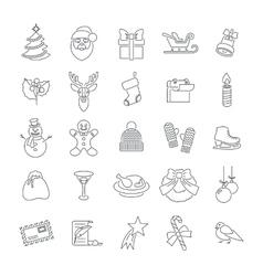 Christmas symbols flat line icons set vector image