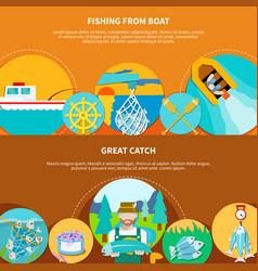 Fishing boat horizontal banners vector