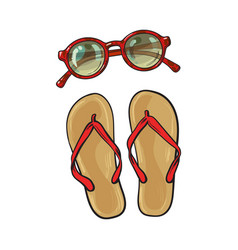 flip flops and round sunglasses summer objects vector image vector image
