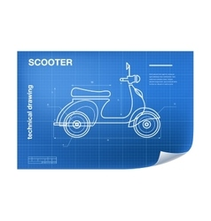Technical wireframe with scooter vector image vector image