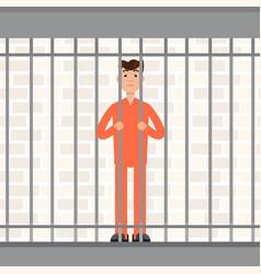 the prisoner behind bars convict inside jail vector image