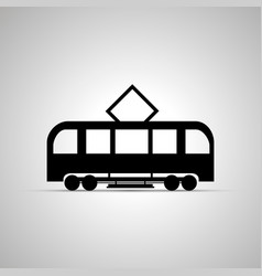 tram silhouette side view simple black icon vector image vector image