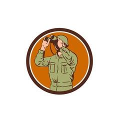 World War One American Soldier Binoculars Retro vector image vector image
