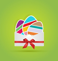 colored eggs in envelope with bow ribbon gift vector image