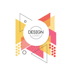 design logo colorful geometric element for brand vector image vector image