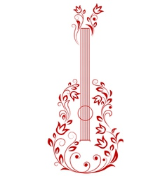 Guitar with floral elements vector image