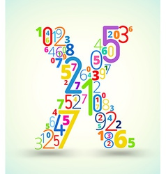Letter X colored font from numbers vector image