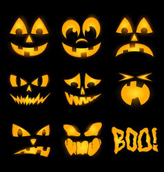 Orange halloween lighting pumpkin faces emotions vector image